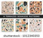 six seamless terrazzo patterns. ... | Shutterstock .eps vector #1012340353