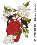 human heart with flowers   Shutterstock .eps vector #1012341103