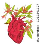 human heart with flowers   Shutterstock .eps vector #1012341127