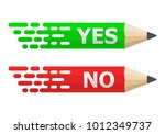 pencils with yes and no text.... | Shutterstock .eps vector #1012349737