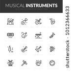 outline black icons set in thin ... | Shutterstock .eps vector #1012366633