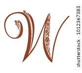 elegant capital letter w . to... | Shutterstock . vector #1012367383