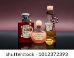 three bottles with love potion... | Shutterstock . vector #1012372393