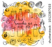watercolor set of smoothie  | Shutterstock .eps vector #1012387033