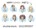 set of various happy  smiling... | Shutterstock .eps vector #1012390507