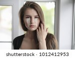 beautiful girl with tears in... | Shutterstock . vector #1012412953