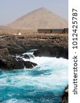 Small photo of Lava rock coastline on the small island of Sal in Cape Verde West Africa