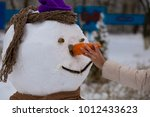 woman's hand hold a big carrot  ... | Shutterstock . vector #1012433623