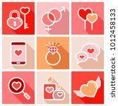 valentine day set icons. vector ... | Shutterstock .eps vector #1012458133