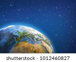 planet earth in deep space ... | Shutterstock . vector #1012460827