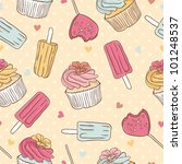 Seamless pattern with ice cream and cake - stock vector