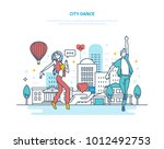 city dance. young couple... | Shutterstock .eps vector #1012492753