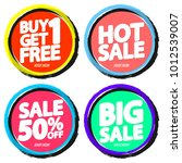 set sale tags  discount banners ... | Shutterstock .eps vector #1012539007