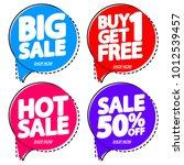 set sale speech bubble banners  ... | Shutterstock .eps vector #1012539457