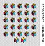 cubic alphabet set. | Shutterstock . vector #1012570723