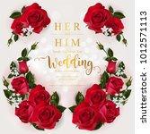wedding invitation card... | Shutterstock .eps vector #1012571113