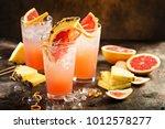 grapefruit and pineapple... | Shutterstock . vector #1012578277