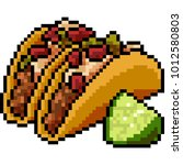 vector pixel art food taco... | Shutterstock .eps vector #1012580803