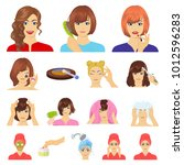 care of hair and face cartoon... | Shutterstock . vector #1012596283