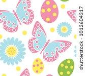 cute easter seamless pattern.... | Shutterstock .eps vector #1012604317