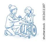 happy smiling female carer ... | Shutterstock .eps vector #1012611187