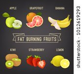 fat burning fruits. colourful... | Shutterstock .eps vector #1012619293