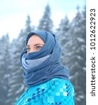 winter portrait of female with ... | Shutterstock . vector #1012622923