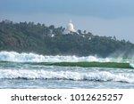 powerful breaking waves against ... | Shutterstock . vector #1012625257
