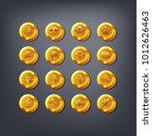 set of golden coins or reward... | Shutterstock .eps vector #1012626463