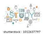 study word surrounded by books  ... | Shutterstock .eps vector #1012637797