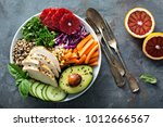 healthy lunch bowl with grilled ... | Shutterstock . vector #1012666567