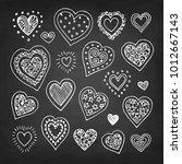 cute doodle hearts. chalk... | Shutterstock .eps vector #1012667143