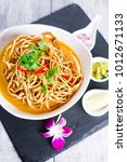 kao soi or thai curry noodles... | Shutterstock . vector #1012671133
