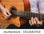 closeup hand musician playing... | Shutterstock . vector #1012681933