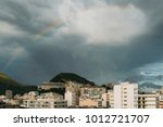 beautiful rainbow above ipanema ... | Shutterstock . vector #1012721707