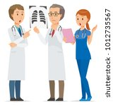 three medical staff members are ... | Shutterstock .eps vector #1012735567