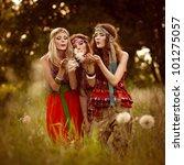 beautiful girls of hippie in... | Shutterstock . vector #101275057