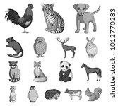 realistic animals monochrome... | Shutterstock . vector #1012770283