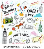 cute doodle collage background | Shutterstock . vector #1012779673