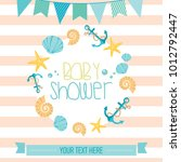 baby shower card with cartoon... | Shutterstock .eps vector #1012792447