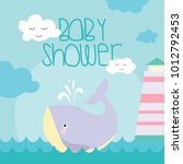 baby shower card with cartoon... | Shutterstock .eps vector #1012792453