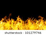 fire flames border in seamless horizontal style, use for banner. - stock photo