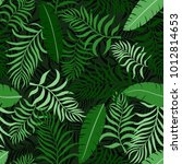 tropical background with palm... | Shutterstock .eps vector #1012814653