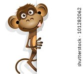 illustration, a brown monkey on a white background - stock vector
