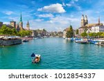 historical part of zurich with...   Shutterstock . vector #1012854337