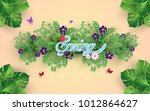 flowers  plants and flying...   Shutterstock .eps vector #1012864627