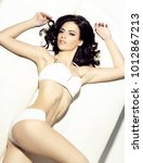 woman in white underwear. young ... | Shutterstock . vector #1012867213