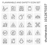 flammable and safety icon set. | Shutterstock .eps vector #1012875337