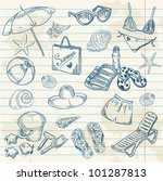 hand drawn retro icons summer... | Shutterstock .eps vector #101287813