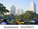 MANILA - APRIL 01: Morning traffic on the street  on April 01, 2012 in  Manila, Philippines. Metro Manila is the most populous  area in the Philippines with an estimated population of 16,300,000 - stock photo